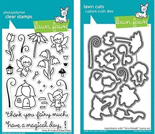 Lawn Fawn Fairy Friends Clear Stamp and Die Set - Includes One Each of LF1057 Stamp & LF1058 Die - Bundle Of 2 by Lawn Fawn