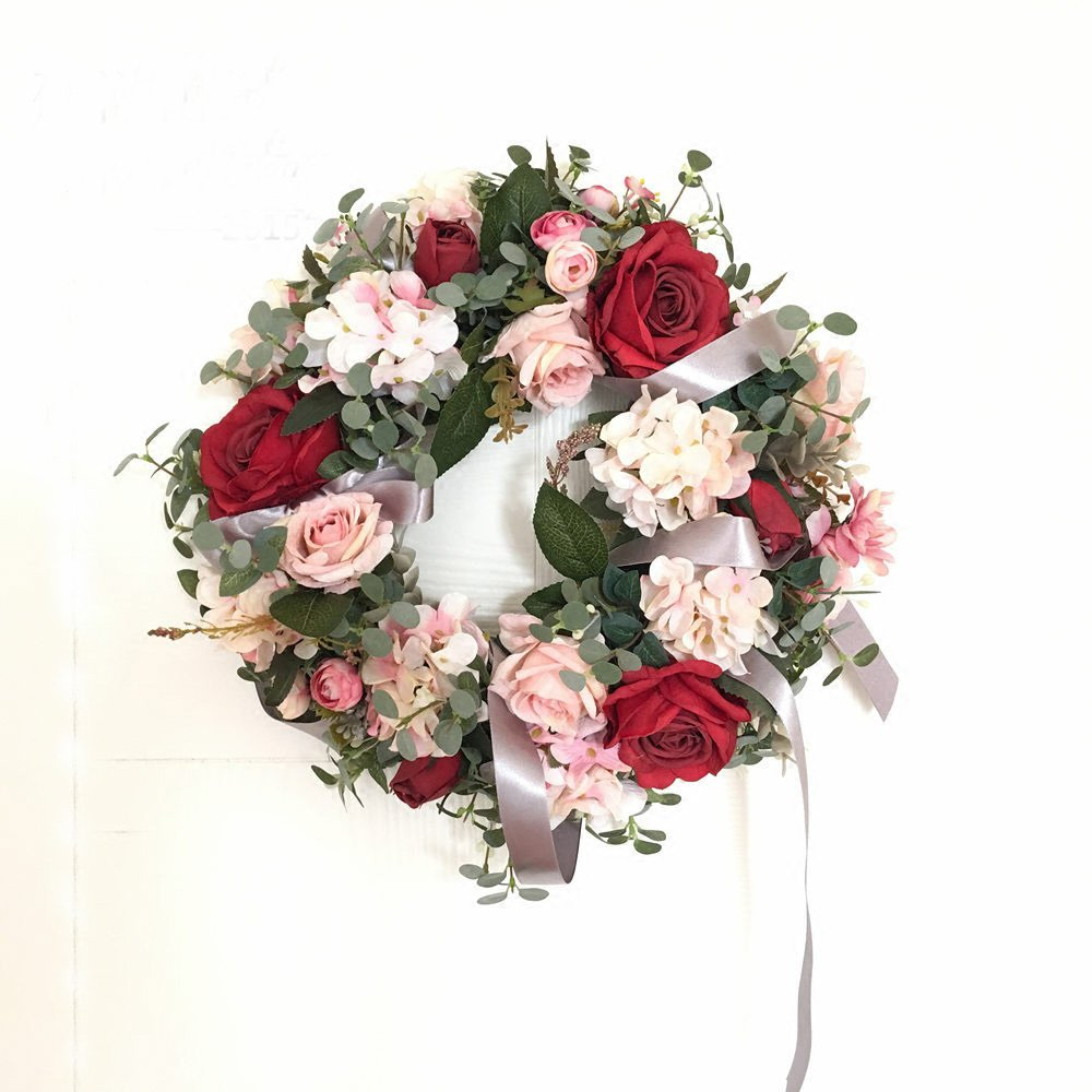 LI HUA CAT Rose and Hydrangea Plastic Flowers Garland for Art,Shop, Store, Interior Decoration, Home Decorate,Wedding, DIY,etc (Hydrangea with Ribbon)