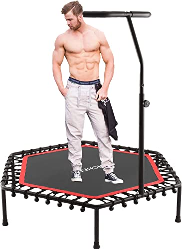 ANCHEER Mini Trampoline, Rebounder for Adults Kids Fitness, Trampolines Trainer with Adjustable Handle Bar for Indoor Outdoor Garden Yoga Workout Exercise, Green
