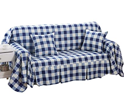 Panda Superstore (Navy Checkered) Furniture Slipcover Sofa Protector Cover,  190x260cm/75x102inch