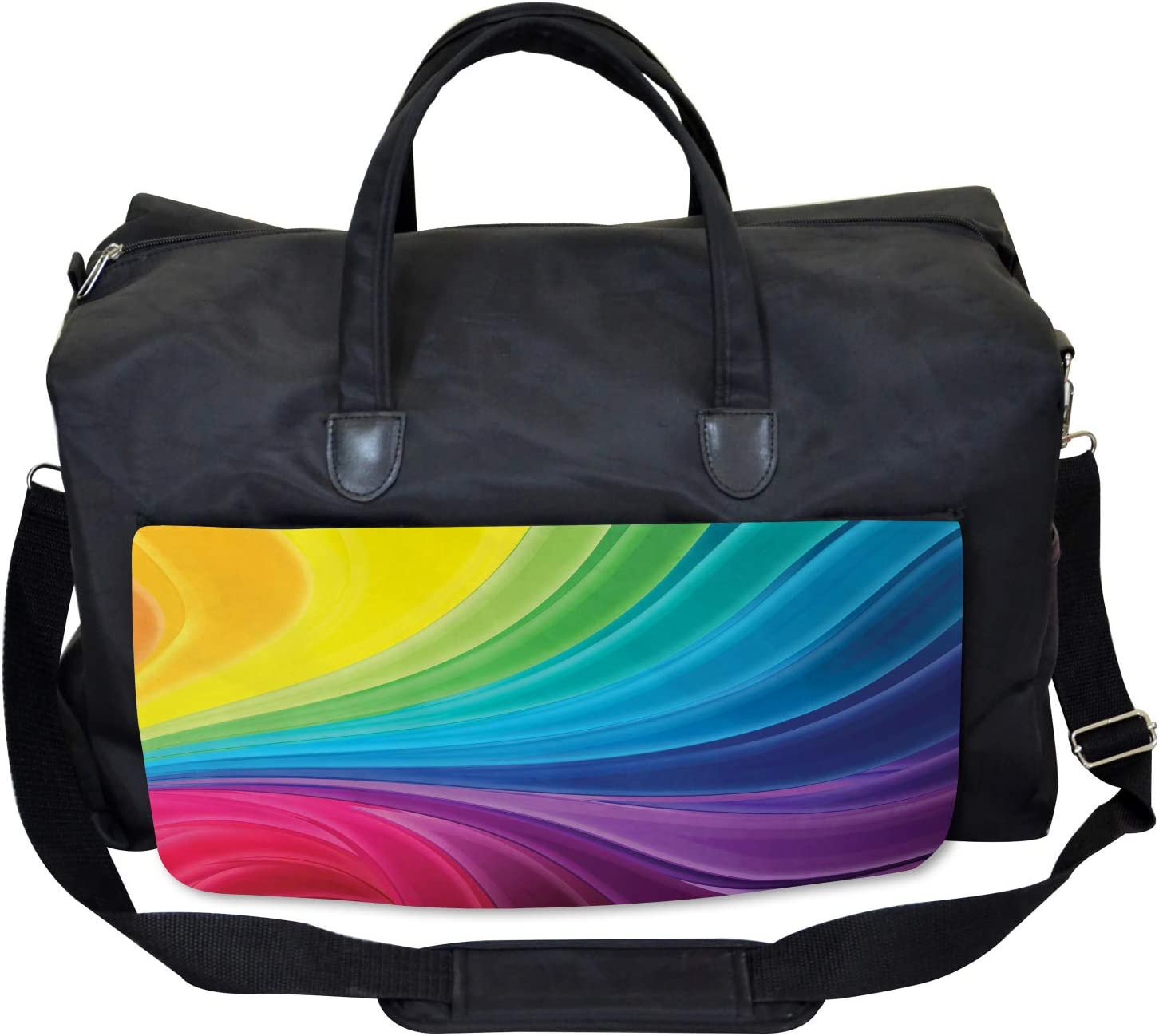 Large Weekender Carry-on Ambesonne Colorful Gym Bag Abstract Smooth Lines