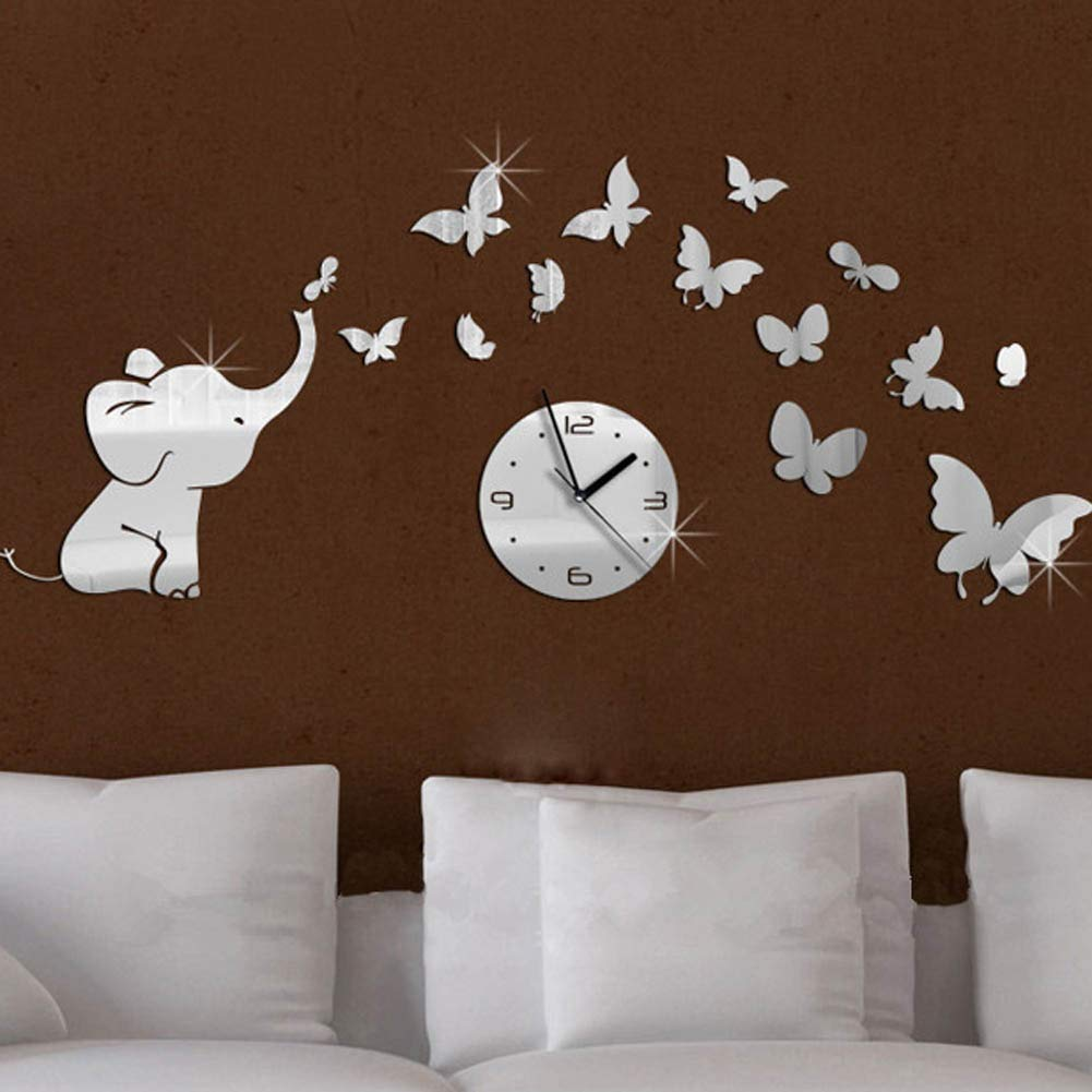 Amazon.com: FONGFONG 3D Medium Acrylic Non Ticking Silent Wall Clock Sticker with Elephant and Butterflies DIY Mirror Surface Clock Battery Operated for ...