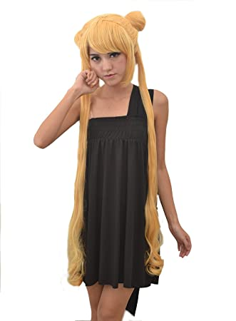 SureWells Sailor Moon Golden Long Wig 2x Ponytails Wigs Hair Extension