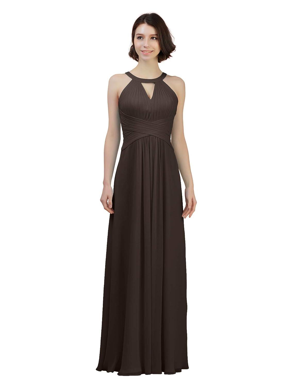 Espresso Alicepub Keyhole Bridesmaid Dress Long Formal Evening Prom Gown for Wedding Maxi