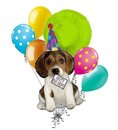 happy birthday puppy images Amazon.com: 7 pc Happy Birthday Puppy Balloon Bouquet Party  happy birthday puppy images