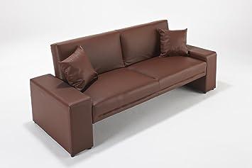Sofá cama Supra en todos los colores, de piel sintética, 2 plazas, madera piel sintética, marrón, Dos asientos