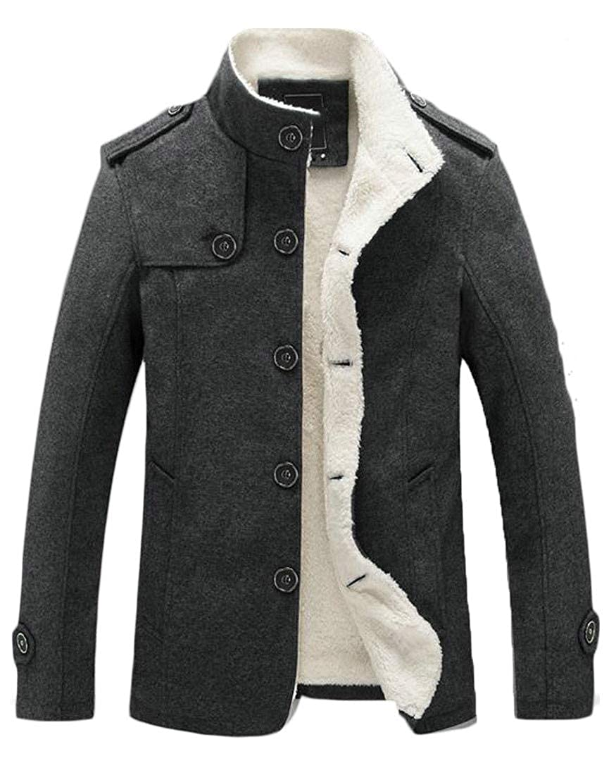 Wofupowga Mens Fleece Lined Stand Collar Thick Woolen Winter Parka Coat Jacket