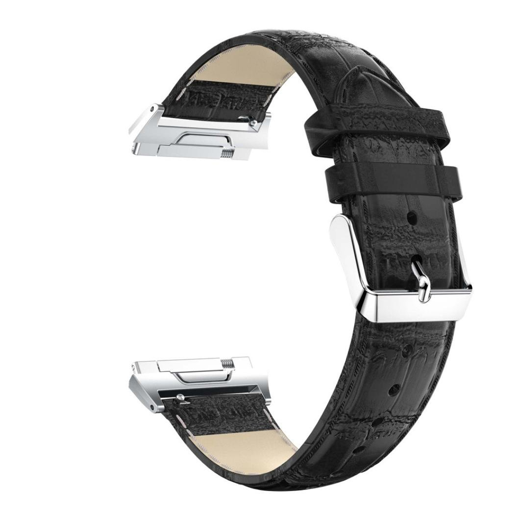 Aurorax for Fitbit Ionicレディースとメンズ交換用レザークイックSingleソフト手首腕時計バンドストラップ ホワイト TZZ70703662 ブラック ブラック B076JGBRT8
