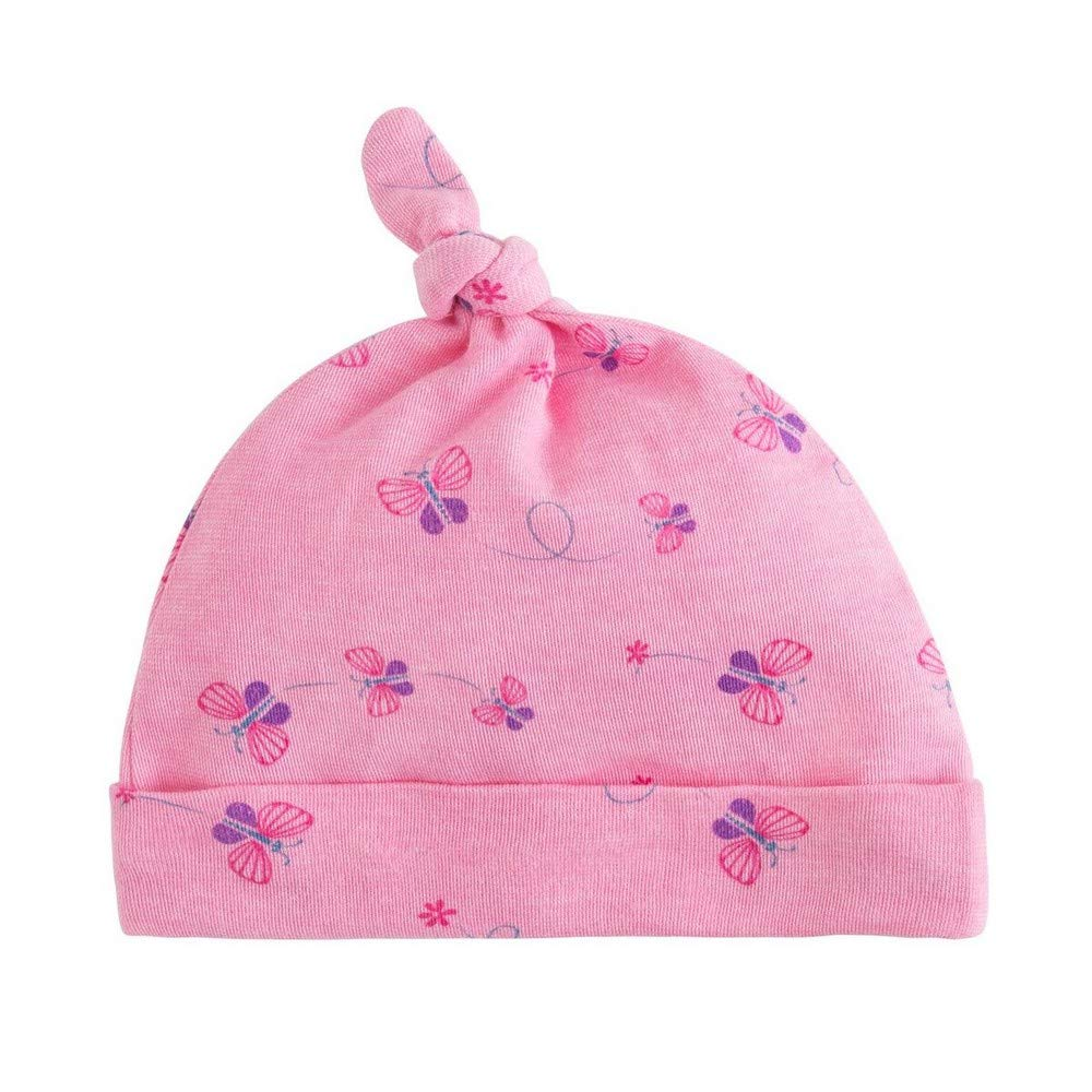 Under the Nile Organic Cotton Baby Girl Knot Top Beanie Size 0-3m Bella Butterfly Print