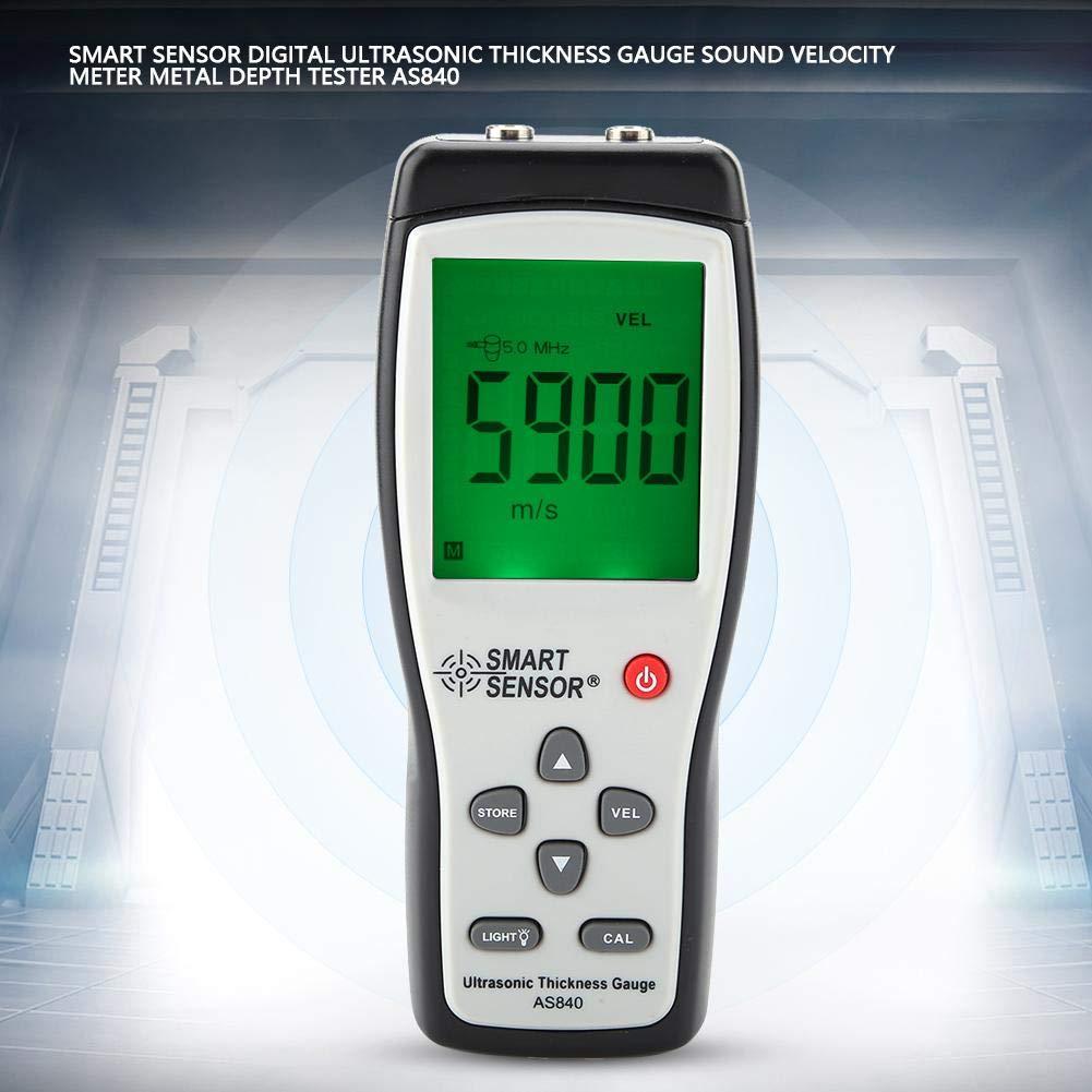 SENSOR AS840 Medidor de Espesor por Ultrasonidos Digital Medidor de Velocidad de Sonido Probador de Profundidad de Metal Sensor Inteligente con Pantalla ...