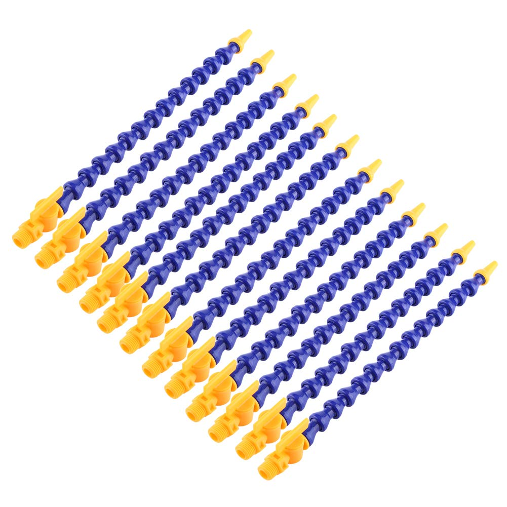 Flexible Coolant Pipe,12Pcs Universal Spray Plastic Water Oil 1//4 PT Thread Hose Flat//Round Nozzle for Lathe CNC with Valve Blue Yellow