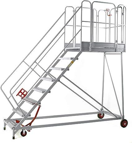 XXL Plataforma de escaleras – Rejilla niveles – 8 peldaños, plataforma Altura 1840 mm – Trabajo de podio conducción