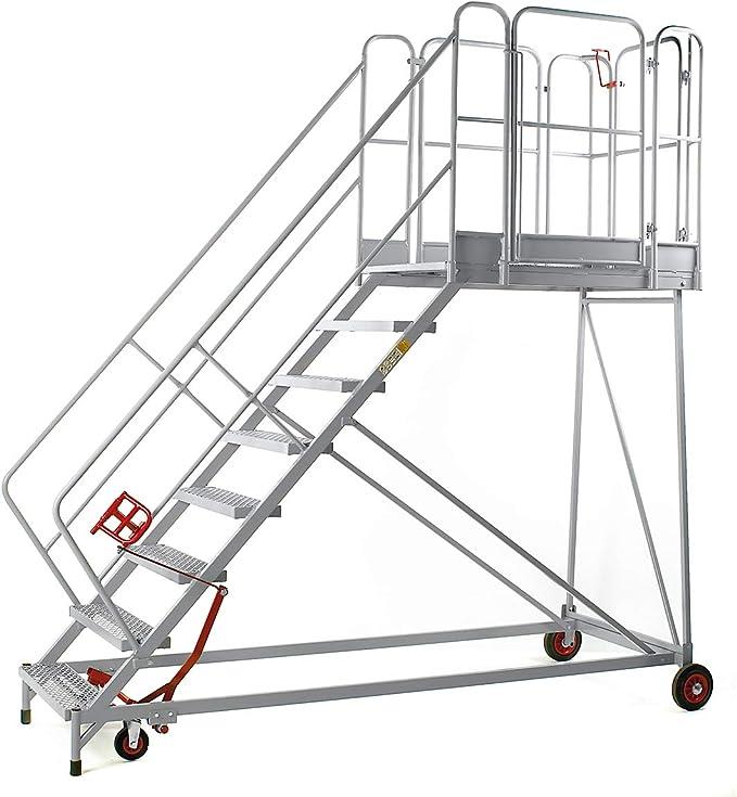 XXL Plataforma de escaleras – Rejilla niveles – 8 peldaños, plataforma Altura 1840 mm – Trabajo de podio conducción Bare Plataforma de trabajo conducción Bare trabajo plataformas Escalera Plataforma de trabajo móvil