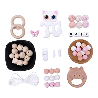 Let's Make Baby Food Grade Chew Silicone Teether Set with Wooden Teether Crochet Beads DIY Baby Teething Necklace Pacifier Clip Newborn Gift: Toys & Games