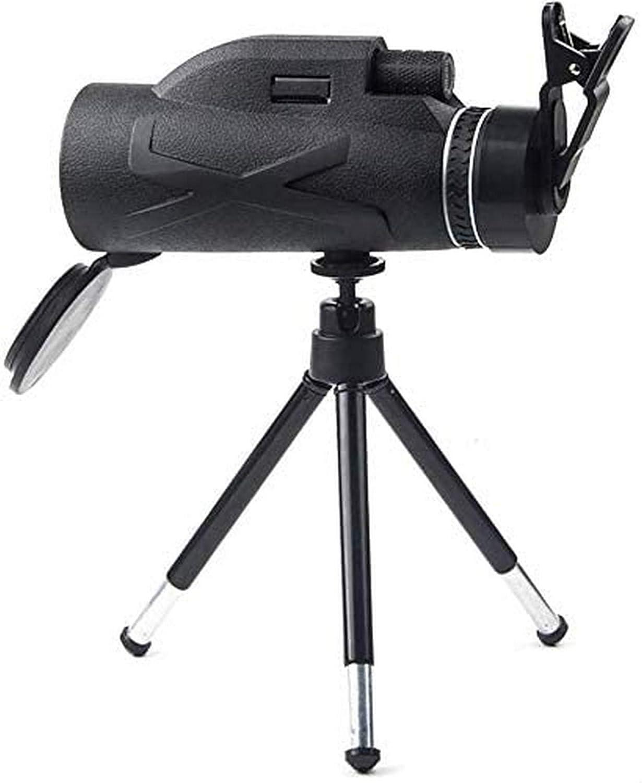 UYZ Telescopio monocular, monocular HD de Alta Potencia 80X100 con, Clip Simple para teléfono móvil + Soporte telescópico de aleación de Aluminio