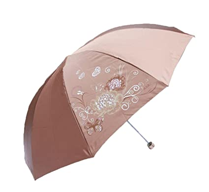 Paraguas Parasol Sombrilla Plegada Se Pliega Paraguas Paraguas De Vinilo,Brown
