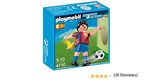 Playmobil Fútbol - Fútbol: Jugador España, Juguete Educativo, Multicolor, 10 x 3,5 x 10 cm, (4730): Amazon.es: Juguetes y juegos