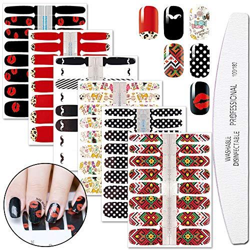 File Sticker Nail - WOKOTO 6 Sheets Adhesive Nail Art Polish Stickers Tips With 1Pc Nail File Lips Moustache Nail Wraps Decal Strips Manicure Kits