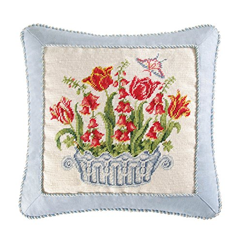 18x18 Inches Needle Point Pillow with Cord, Tulip and Foxglove Basket, Butterfly by C&F Home