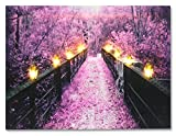 BANBERRY DESIGNS Wooden Bridge and Tree Scene - Purple Home Decor - Lighted Canvas Print - Each Lantern Has a LED Light - Wall Art with Battery Operated Led Lights