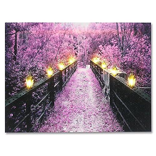 Wooden Bridge and Tree Scene - Purple Home Decor - Lighted Canvas Print - Each Lantern Has a LED Light - Wall Art with Battery Operated Led Lights  sc 1 st  Amazon.com & LED Art: Amazon.com