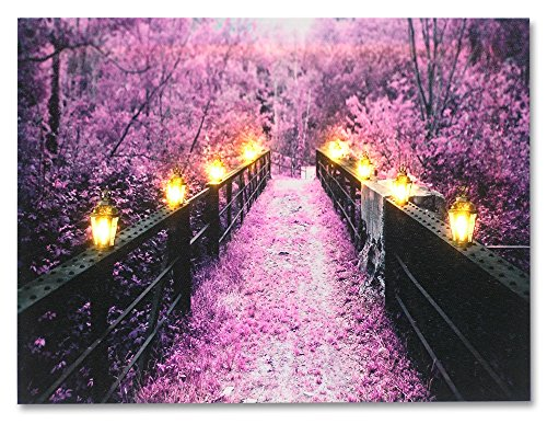 BANBERRY DESIGNS Wooden Bridge and Tree Scene - Purple Home Decor - Lighted Canvas Print - Each Lantern Has a LED Light - Wall Art with Battery Operated Led ()