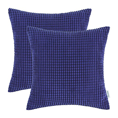 Pack of 2, CaliTime Throw Pillow Covers Cases for Couch Sofa Bed, Comfortable Supersoft Corduroy Corn Striped Both Sides, 18 X 18 Inches, Royal Blue (Royal Pillows Blue Couch)