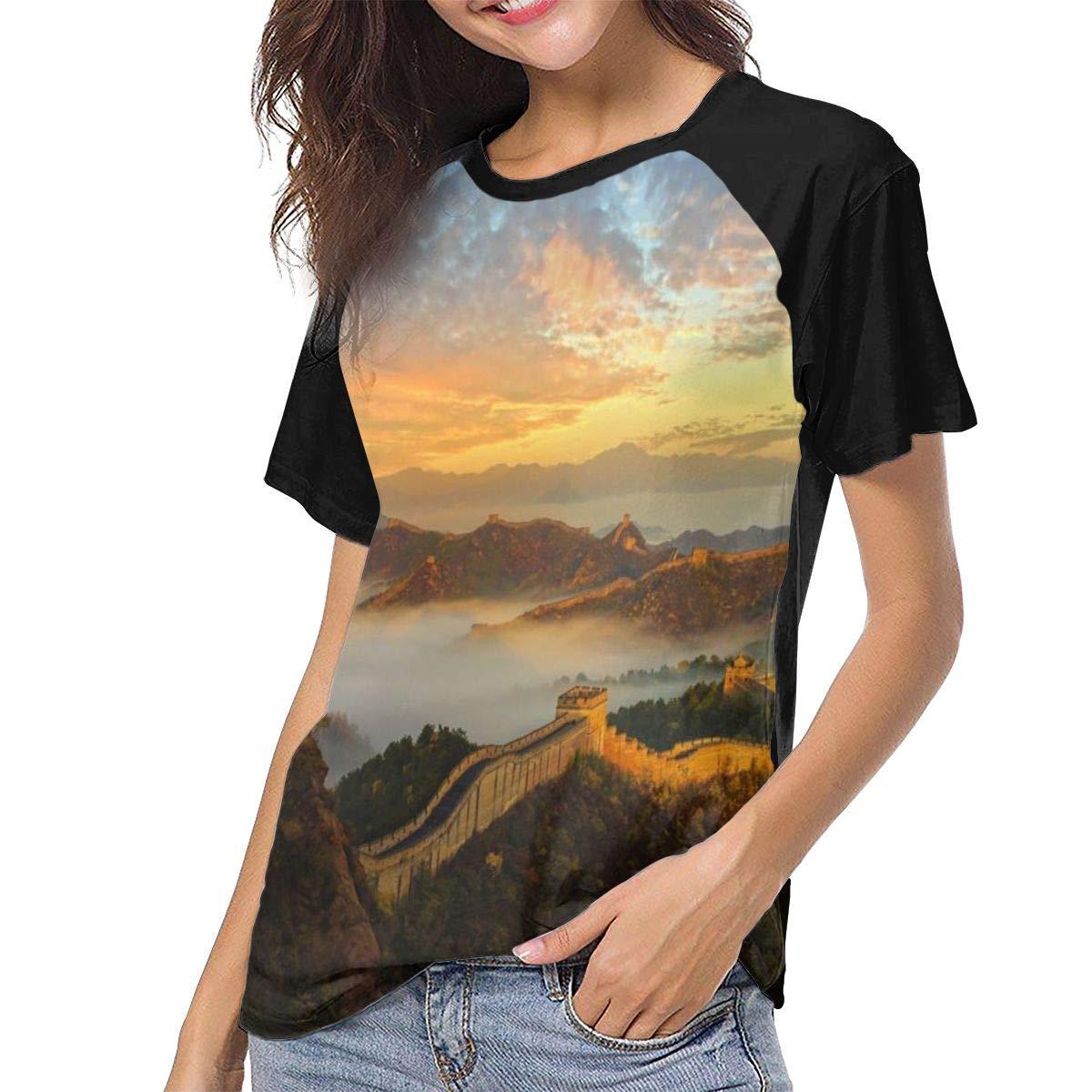 Great Wall of China Landscape Casual Raglan Tee Baseball Tshirts Tops Blouse Womens Summer Short Sleeve