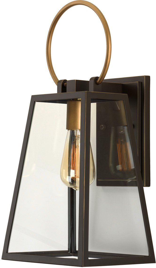 Luxury Vintage Outdoor Wall Light, Medium Size: 15.125''H x 6.5''W, with Farmhouse Style Elements, Olde Bronze Finish and Clear Shade, UHP1002 from The Vicenza Collection by Urban Ambiance