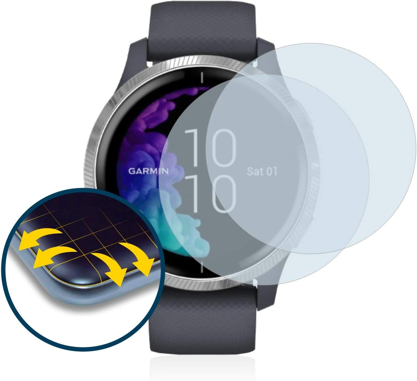 brotect 3D Curved Screen Protector compatible with Garmin Venu 43 mm - Full Screen Coverage 2 Pack