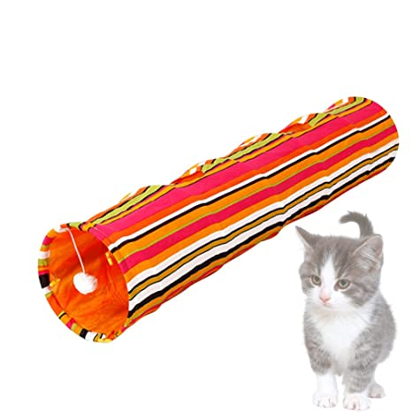 iBaste Túnel de Juguete Plegable para Gatos Colorido Rayas Cat Tunnel para el Entretenido el Ejercicio