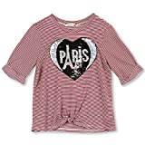 Speechless Big Girls Twist-Front T-Shirt with Flippy Sequins, Ivory/Burgundy, Large