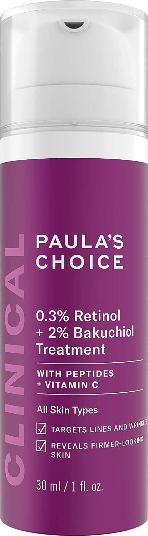 Paula's Choice CLINICAL 0.3% Retinol + 2% Bakuchiol Treatment, Anti-Aging Serum for Deep Wrinkles & Fine Lines, Fragrance-Free & Paraben-Free, 1 Ounce
