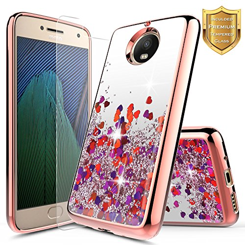 Moto G5S Plus w/[Tempered Glass Screen Protector], NageBee Glitter Liquid Quicksand Waterfall Flowing Shiny Sparkle Bling Girls Cute Case for Motorola Moto G5S Plus - Electroplate Rose Gold