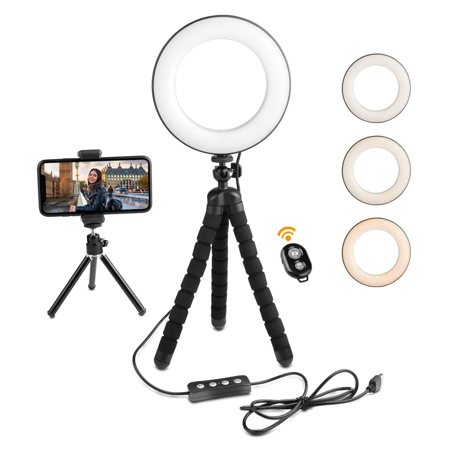 Deyard LED Ring Light with Tripod Stand & Cell Phone Holder for iPhone GoPro Xiaomi Yi Action Camera Suitable for YouTube Video and Makeup, with 3 Light Modes & 12 Brightness Levels (6 inch) by Deyard