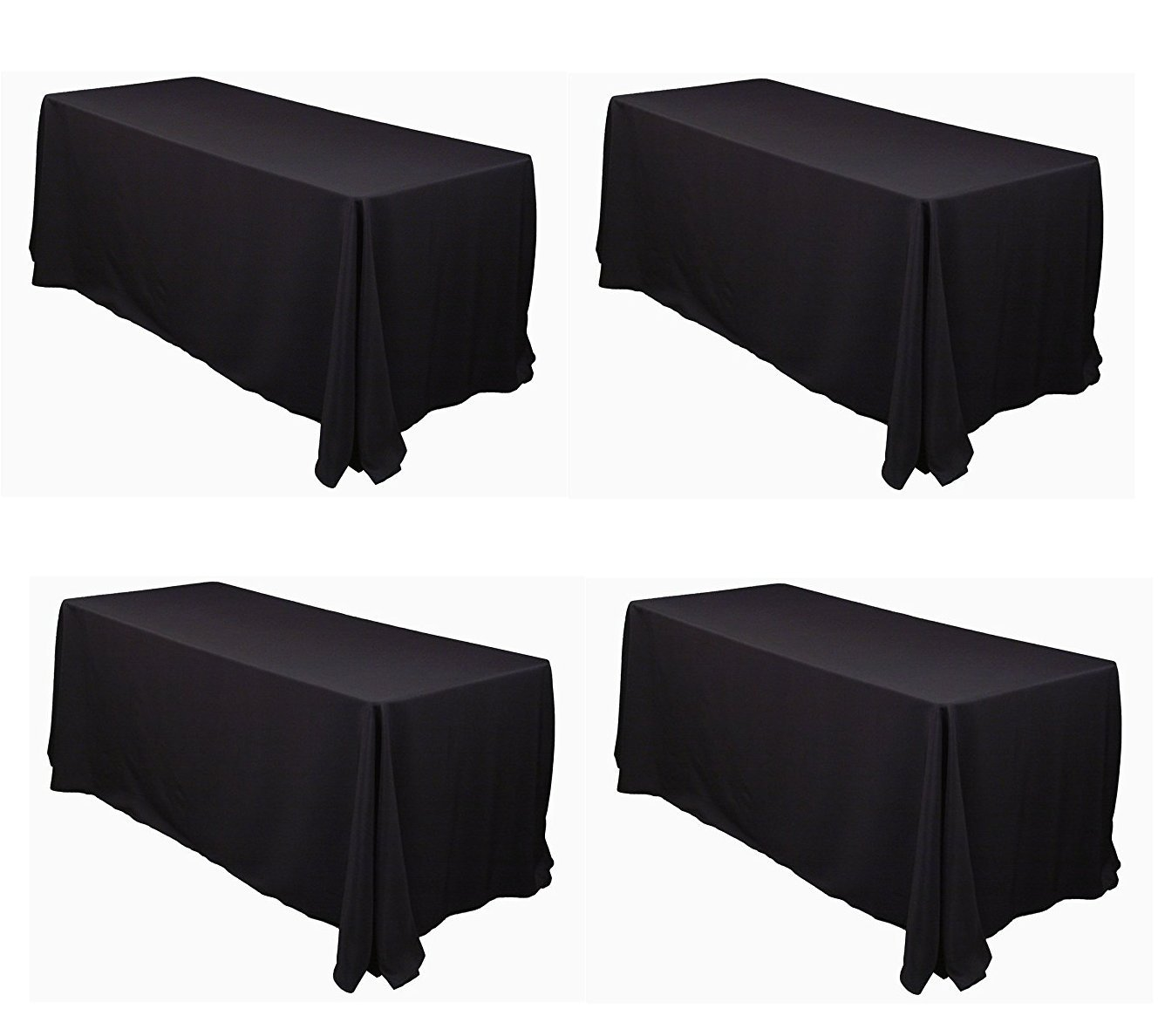 LinenTablecloth 90 x 132-Inch Rectangular Polyester Tablecloths (Black, 4)