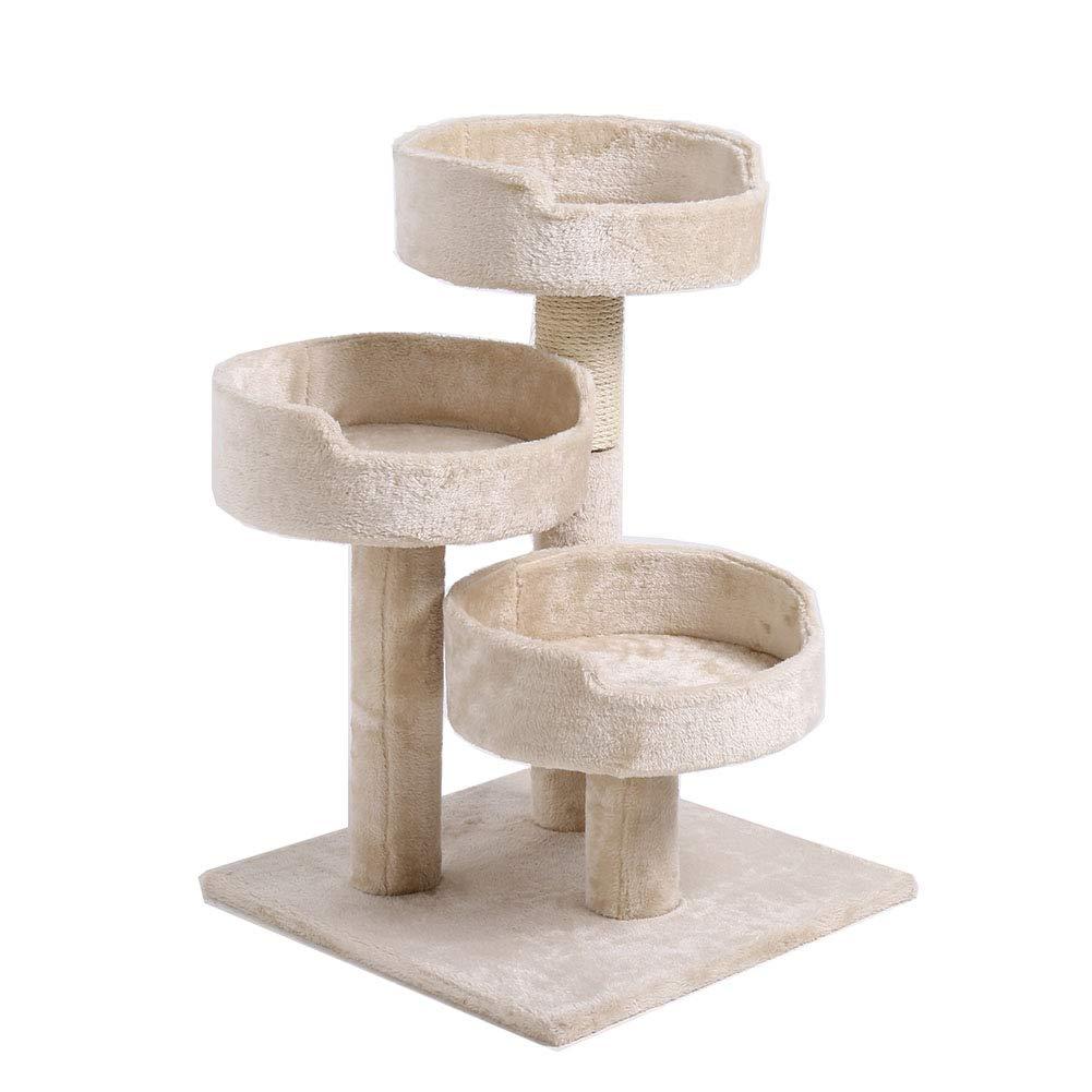 GTTBS Three-Layer Cat Tree, Cat Scratch Column Pet Play Tower Activity Center, Grinding Paw Rest 50  50  75CM (Beige)