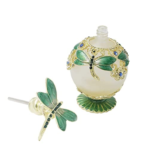 b8831b1df7a5 CMiracle Green Dragonfly Refillable Empty Glass Frosted Perfume ...