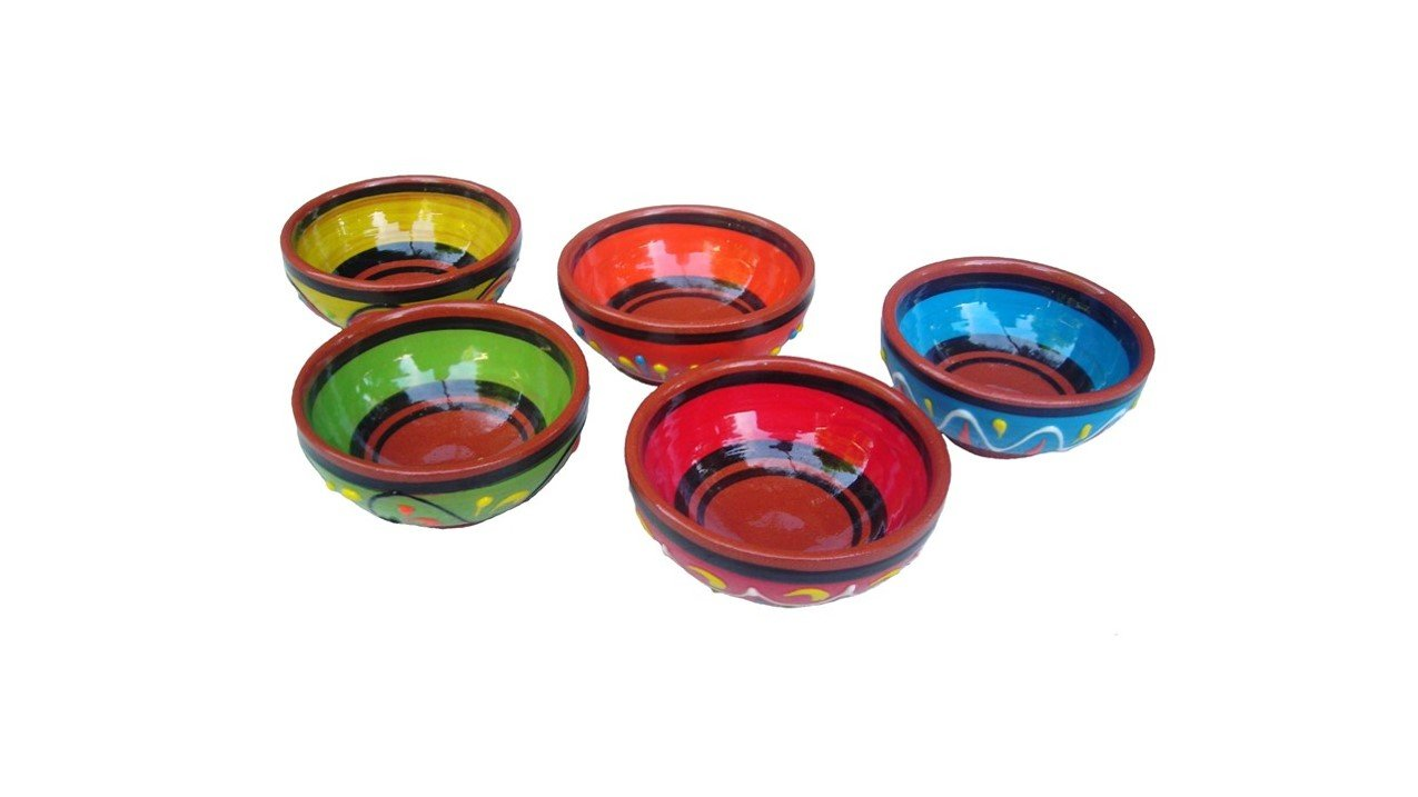 Cactus Canyon Ceramics Terracotta Super Mini-Bowl Set of 5 (Pinch Bowls) - Hand Painted from Spain
