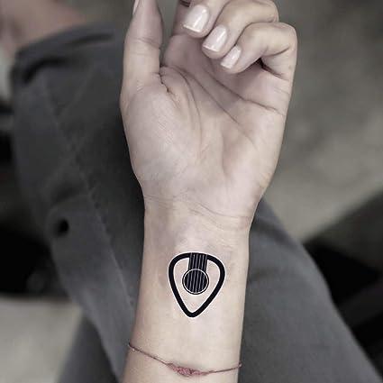Púa de guitarra etiqueta engomada falso temporal del tatuaje (Juego de 2) - www