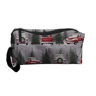Huadduo Christmas Tree Farm Trucks Retro Travel Bag Printed Multifunction Portable Toiletry Bag Cosmetic Makeup Pouch Case Organizer For Travel