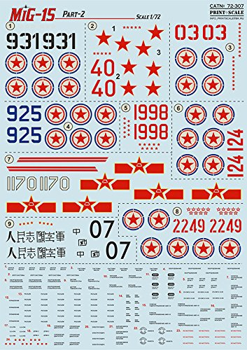 WET DECAL FOR REPUBLIC WET DECALS FOR MIG-15, MIG-15BIS