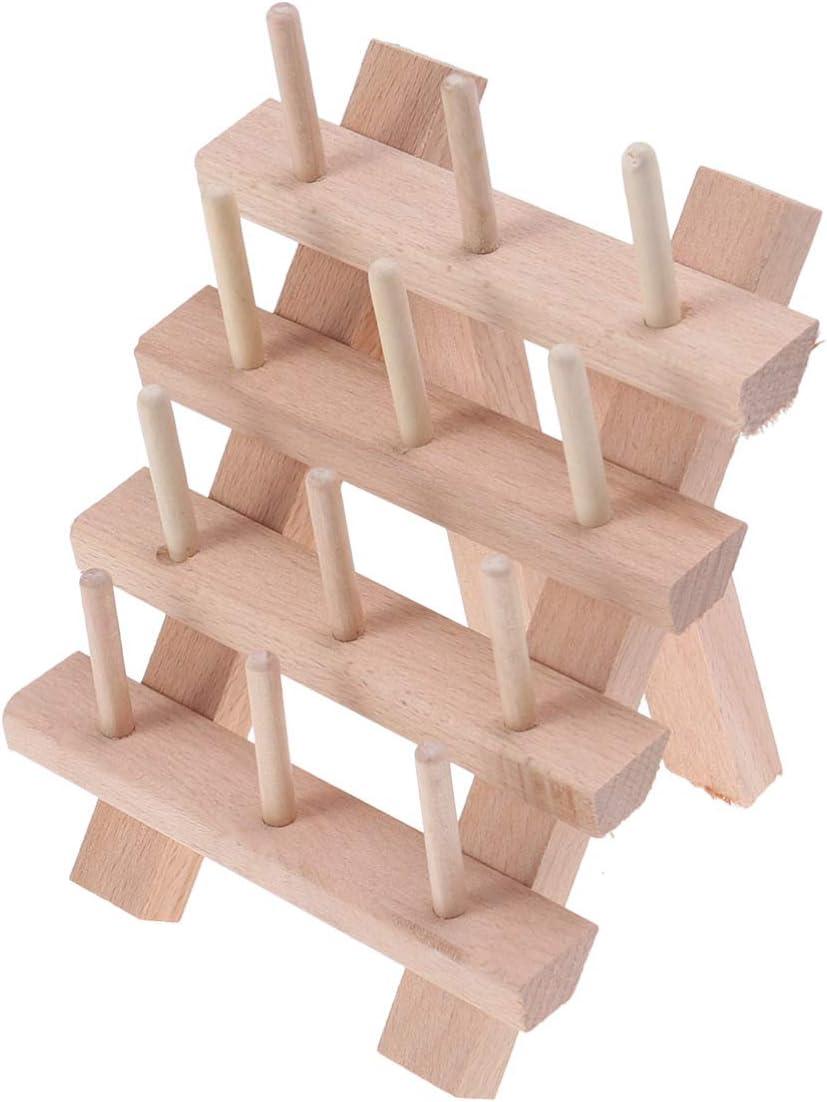 HEALLILY Supporto per filo di legno pieghevole con 12 rocchetti per filo di legno di faggio per macchina da cucire e ricamare