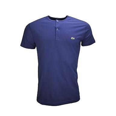 c3713385136 LACOSTE - T-shirt col rond Lacoste boutons bleu marine pour homme - Bleu
