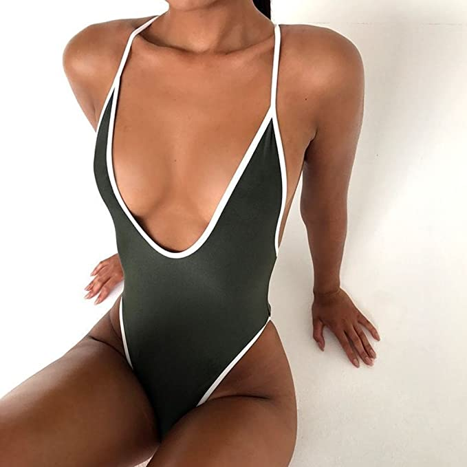 f0f50d5a6c2 Amazon.com  HISIMPLE Women Swimsuit One-Piece Sexy Solid Hollow Out  Backless Monokini Bathing Suit Dark Green  Clothing