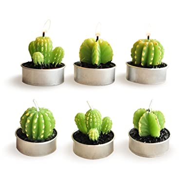 E-dance 6 Pcs Decorative Cactus Candles Mini Cute Tealight Candles for Home Decor Gift Birthday Party