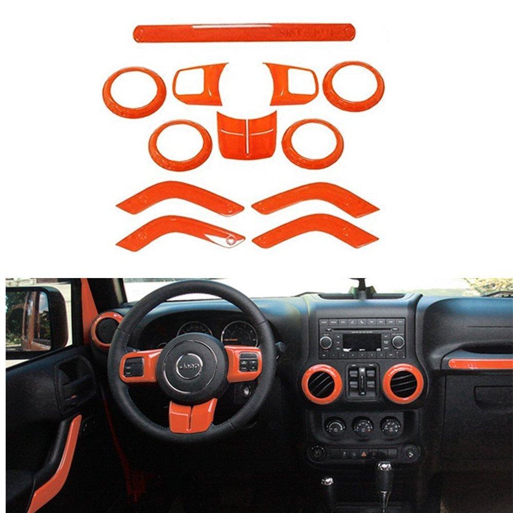 Orange Gear Shift Knobs Frame /& Air Outlet Cover Fit for Jeep Wrangler JK JKU 2011-2018 2/&4 Door 18 PCS Full Set Interior Decoration Trim Kit Steering Wheel /& Center Console Trim