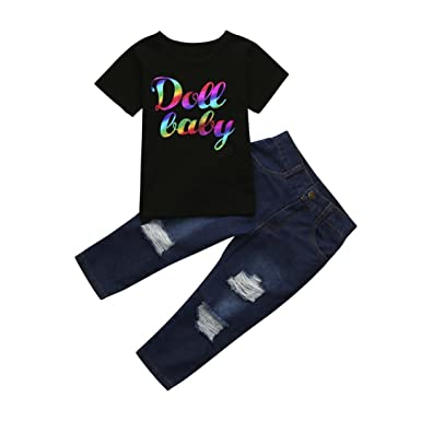 4278ca80a7b Winsummer Toddler Kids Baby Boy Letter Printed T-Shirt Tops Holes Denim Pants  Trousers Outfits