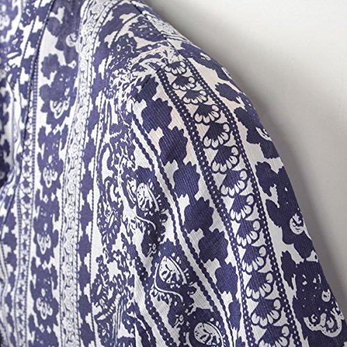 a scollo da lunghe maniche lunghe donna Maglietta V per a Blu maniche a lunghe maniche con abito blu V ZFFde a V con scollo scollo qYBwCX