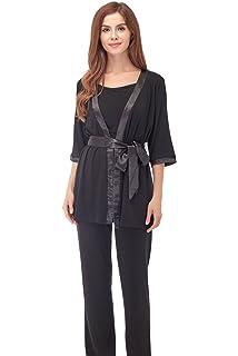 Bearsland Maternity Womens 3 Pieces Soft Nursing Pajamas Set Postpartum Sleepwear for Breastfeeding